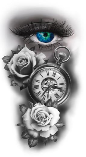 realistisch oog uurwerk en rozen tattoo