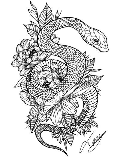 slang en bloemen tattoo