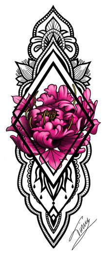 mandala en pioenroos tattoo design voor sleeve