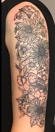 flower line tattoo sleeve woman