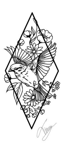 vogel en bloemen tattoo design