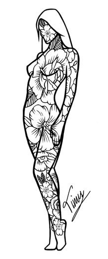 tattoo design contouren vrouw en bloemen