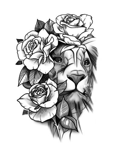 leeuw en rozen tattoo