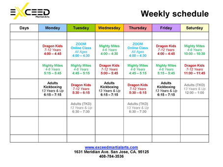 EXCEED WEEKLY SCHEDULE