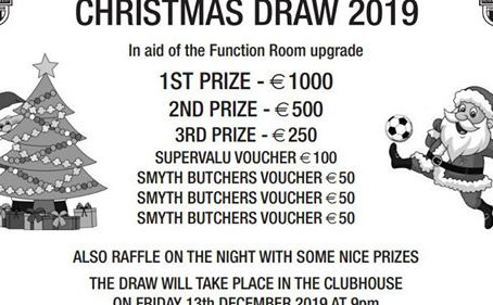 Club Christmas Raffle - Fri 13th - Great Prizes - Get your Tickets now