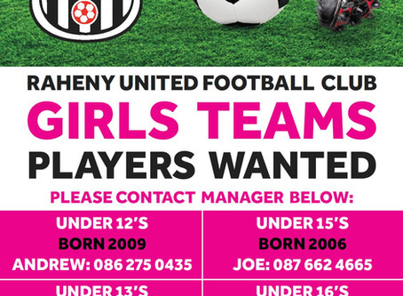 PLAYERS FOR GIRLS TEAMS WANTED