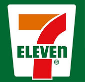 green, red, orange, and white logo for 7-Eleven store