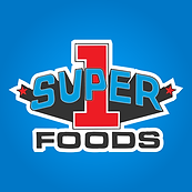 logo for Super 1 Foods with a red numeral 1 and the words Super Foods on a blue background and words outlined in white