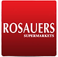 Red and white logo for Rosauers supermarkets