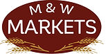 Logo for M & W markets with drawings of sheaves of wheat on rust colored background