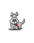 cartoon image of a small grey dog with a red tongue hanging out, perked up ears and expectant expression