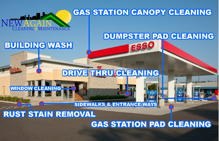 Commercial Services: Building wash, window cleaning, gas station canopy, gas station pad, rust stain removal, sidewalks & entranceways
