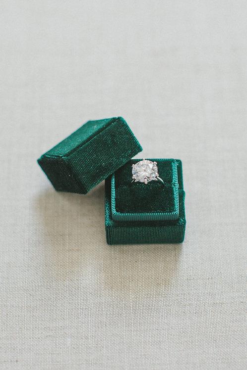 VELVET RING BOX-Vintage Green