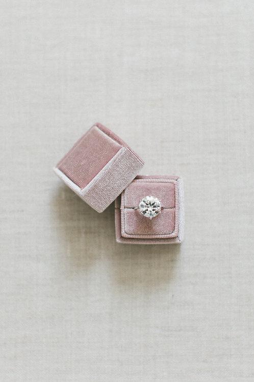 VELVET RING BOX-Vintage Pink