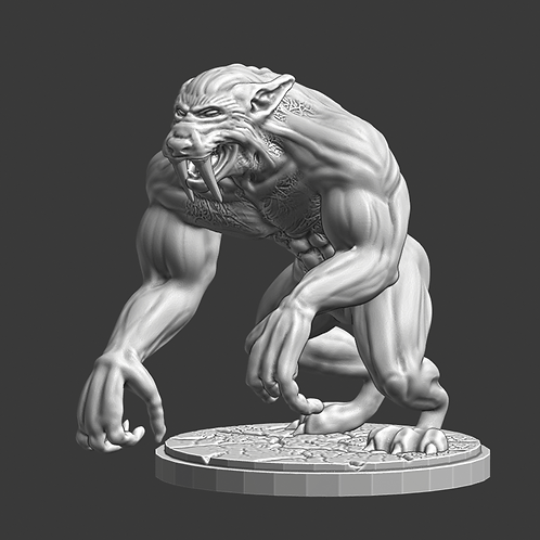 Lycan miniature, ideal for DnD and RPG, 28mm, Digital download, STL