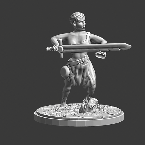 Warrior (female) miniature, ideal for DnD and RPG, 28mm, Digital download, STL