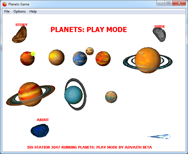 PLANETS: Play Mode Menu