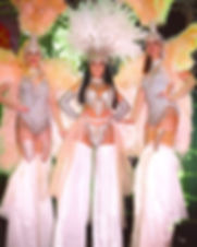 Diamond Showgirls Victorias Secret angels stilt walkers London UK