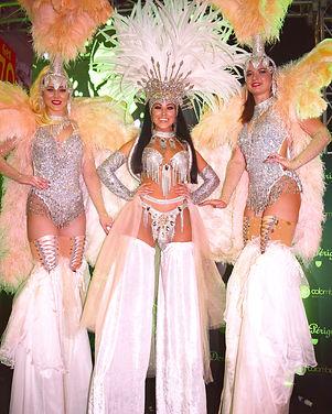 Diamond Showgirls Victorias Secret angels stilt walkers London UK