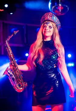 Book walkabout musicians saxophone player LED musicians London UK event entertainment hire