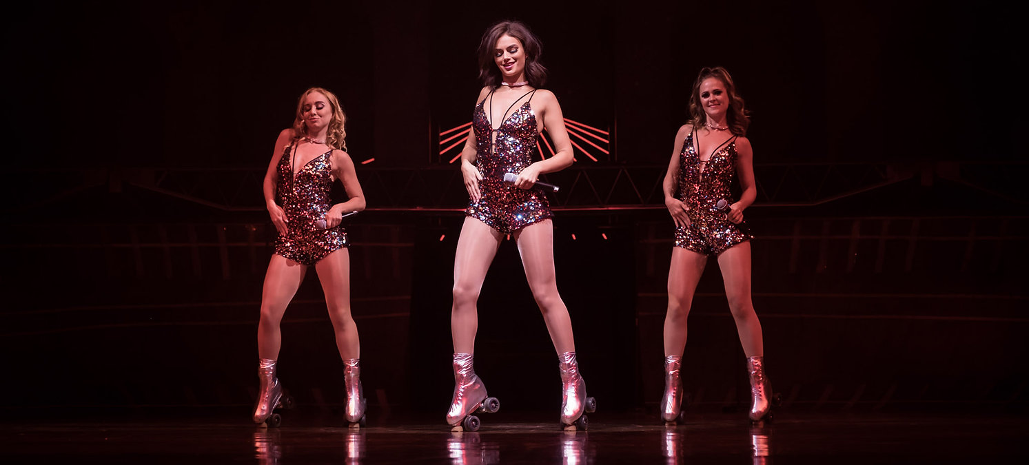 Hire West end singers roller skaters skating divas rollergirls Rollerskating show disco show party entertainment event hire