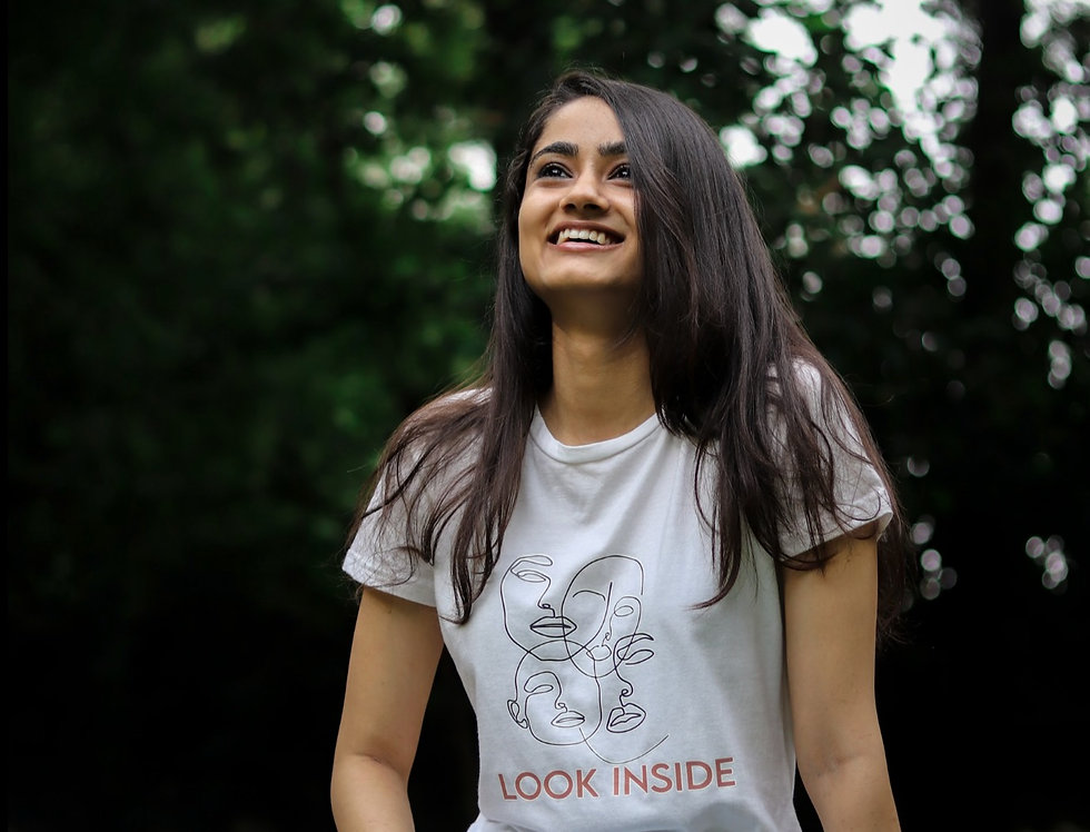 Front View: 100% Organic Cotton (GOTS Certified), Naturally dyed, Minimalist Design, Sustainable Black T-shirt for Women