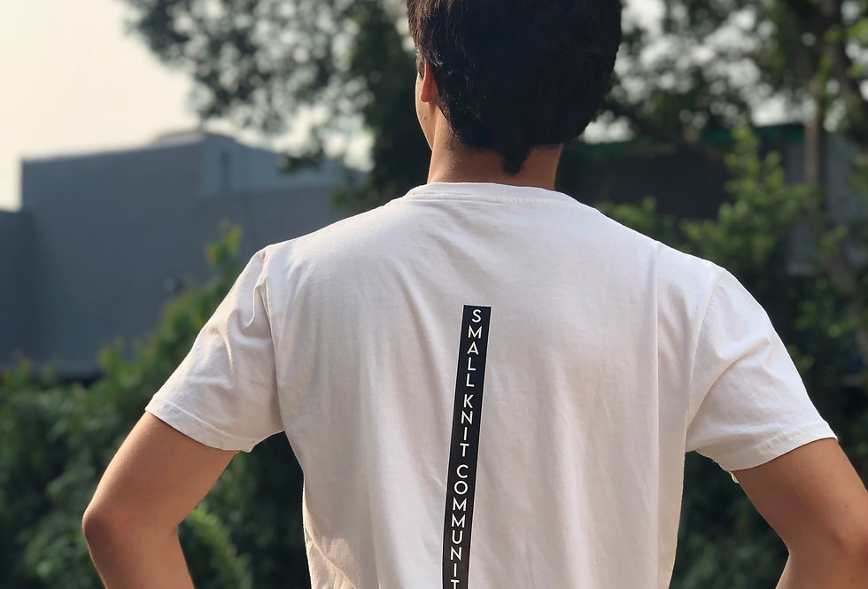 Rear View: 100% Organic Cotton (GOTS Certified), Naturally dyed, Minimalist Design, Sustainable White t-shirt for Men