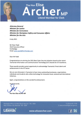 Congratulations from Hon Elise Archer MP, Liberal Member for Clark