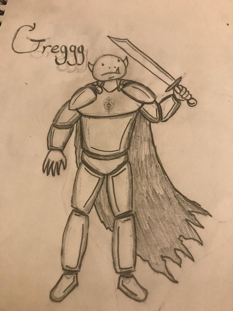 Greggg Caeruluem, 13-year-old Half-Orc Paladin