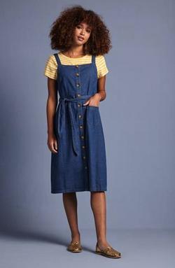 Beth Pinafore Dress Chambray