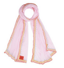Cotton Voile With Handembroidery Rosa