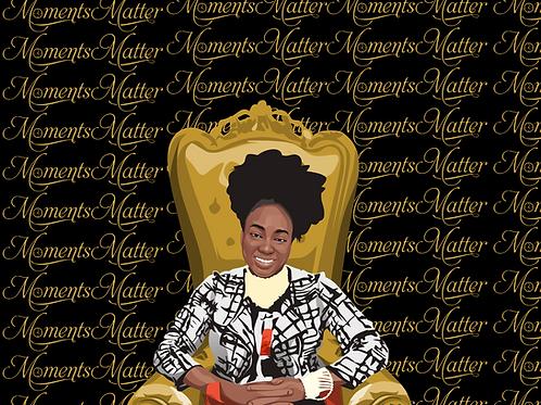 Moments Matter Royal Hand Sketched Digital Self Portrait