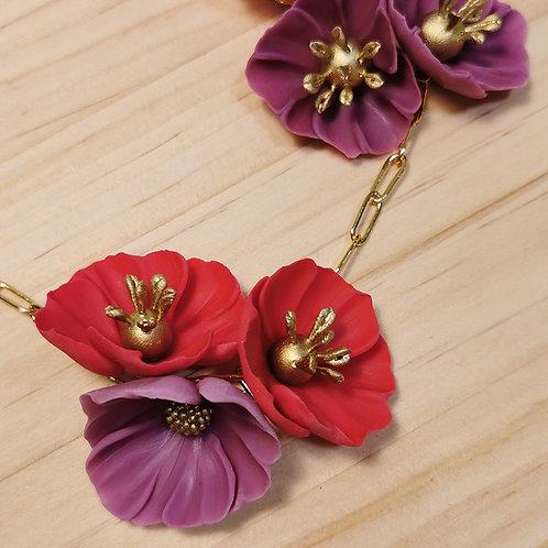 Collar de Flores púrpura y rojo F123