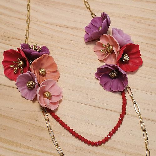 Collar largo Flores rojas y violetas F132