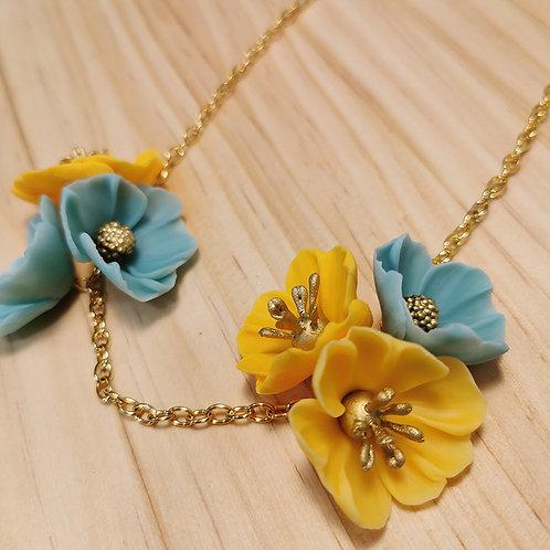 Collar de Flores agua y amarillo F122