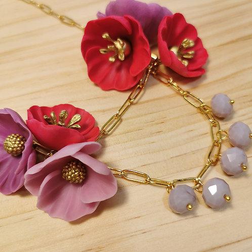 Collar Flores rojas F131