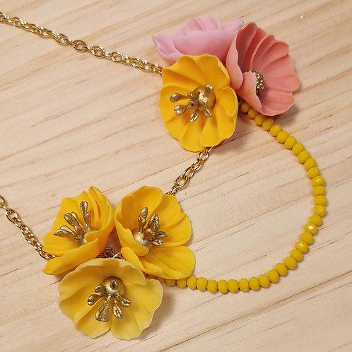 Collar Flores amarillo y coral F127