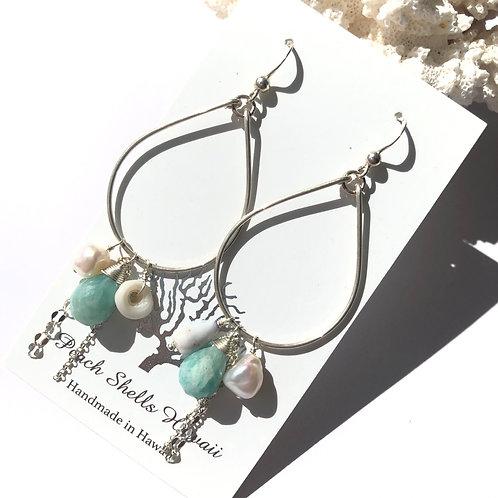 Sterling Silver Teardrop Charm Earrings Amazonite