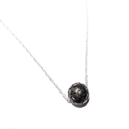 Sterling Silver  Floating Tahitian Pearl Necklace w/Carved Mermaid Scales