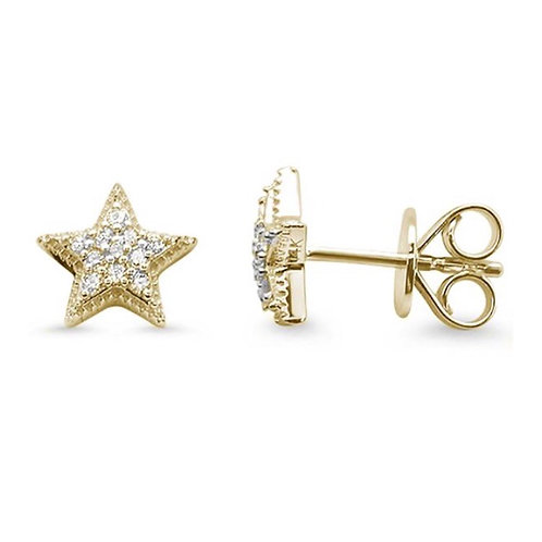 14k Yellow Gold Star Stud .12ct  Diamond Earrings