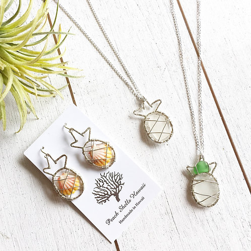 Pineapple with Sea glass necklace