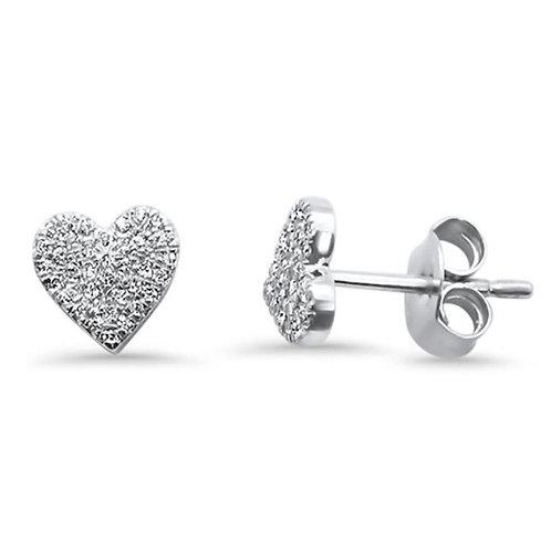 14Karat Gold Heart .15ct Diamond Stud Earrings