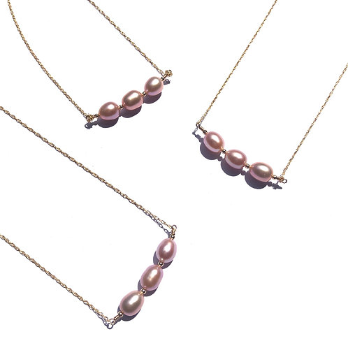 3 Pink Freshwater Pearl Necklace