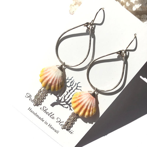 Sterling Silver Teardrop Hoop with Sunrise Shell Earrings