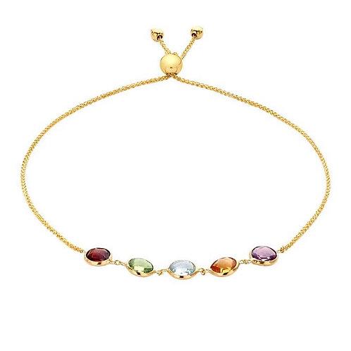 """14  Karat Yellow Gold"" Adjustable Multi Stone-Set Bracelet"