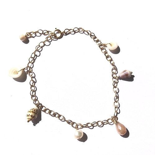14KGF Hawaiian Shells Charm Bracelet (3)