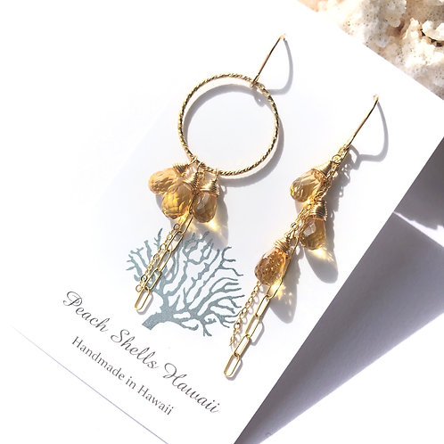 14KGF Asymmetric Citrine Earrings