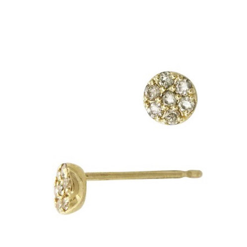 14 Karat  Gold Flat 4mm Circle Earring with Diamonds in Pave Setting