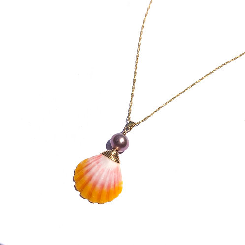 Hawaiian Sunrise Shell with Pink Edison Pearl Necklace (1)