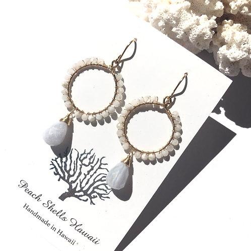 14KGF Moonstone & Blue Lace Agate Hoop Earrings